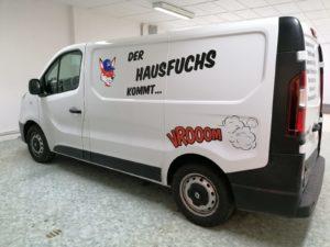 Fahzeugbeschriftung Fa. Haff Print Ferdinandshof transporter fuchs