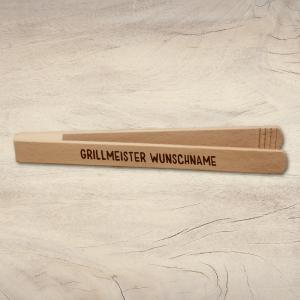 Grillzange aus Holz mit Wunschtext name