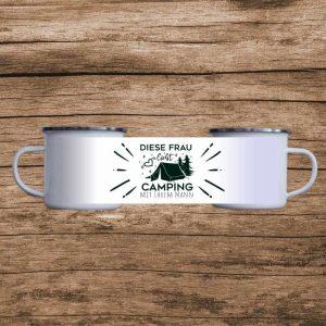 Emaille Tasse Camping weiß Partner
